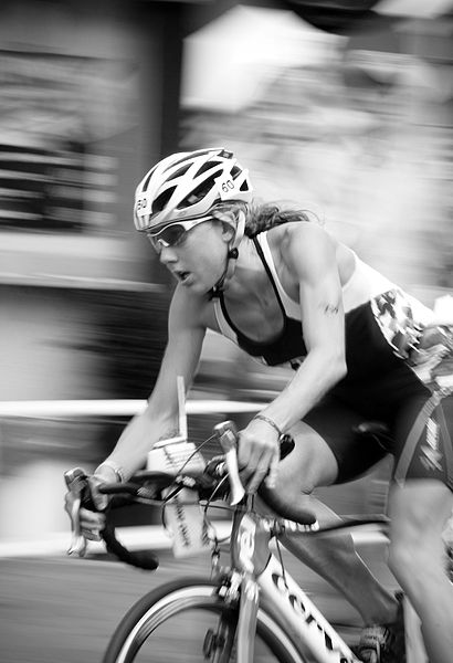 Chrissie Wellington competing at the 2008 Frankfurt Ironman