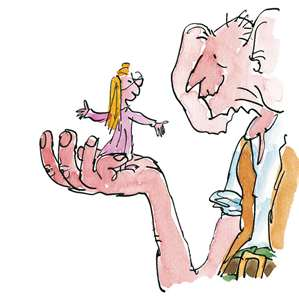 Picture from 'The BFG' showing the BFG holding Sophie on the palm of his hand.