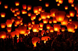 Paper lanterns being released during The Lantern Festival
